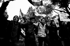 . (Thorsten Strasas) Tags: berlin sign de demo deutschland russia flag rally banner embassy demonstration schild syria transparent speech mitte rede fahne flagge kundgebung regime syrien botschaft russland vladimirputin basharalassad schwarzweis russianpresident wladimirputin airstrikes luftangriffe bascharalassad