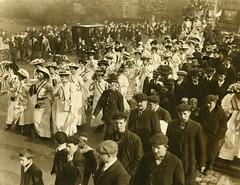 Processing suffragettes, c.1908.