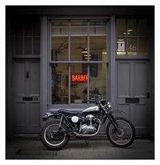 Barber Shop & Classic Motorcycle, East London, England. (Flickr Explore 15.11.15). (Joseph O'Malley64) Tags: uk greatbritain england london bike shop britain business motorbike barbershop barber motorcycle british shopfront eastend eastlondon getyourhaircut