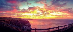 A panoramic sunset from September- the colours were electric. (apcmitch) Tags: ireland coast nightscene northern causeway iphonephotos