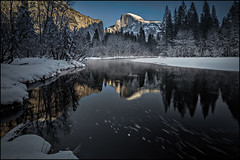 Half Dome, Winter - Explored (PrevailingConditions) Tags: trees winter mountains cold water river afternoon outdoor freezing yosemite yosemitenationalpark mercedriver