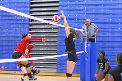 IMG_9760 (SJH Foto) Tags: girls volleyball high school mount olive mt team tween teen teenager varsity net battle spike block action shot jump midair