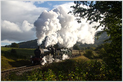 KWVR 7822 & 34053 near Oakworth, 9th Oct 2016 (Keith Halton) Tags: kwvr worthvalley railway steam yorkshire haworth 7822 34053