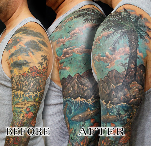 Tropical Island Sea Underwater Sleeve Cover Up Fix Tattoo By Jackie Rabbit A Photo On Flickriver