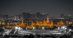Wat Phra Kaew@B&W (santifoto9) Tags: bangkok asia landmark thailand driving street trail praying national travel wat destinations urban culture traffic night palace light east old exposure blurred traditional buddhism spirituality historic kaew theravada sanam local famous reflection architecture gold city temple moving motion sunset pagoda sky tourism religion monastery scene phra vacation