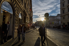 Late afternoon light on Nazionale, Rome, Italy (diana_robinson) Tags: italy lateafternoonlight nazionale rome sunset cobblestonestreets streetphotography strollingpedestrians
