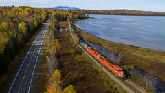 Red Barns eastbound at Long Pond (Thomas Coulombe) Tags: centralmainequebec cmq 2 emdsd402f sd402f gmdsd402f freighttrain train drone aerial dji phantom longpond mooseheadsub maine fall