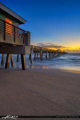Juno Beach Sunrise at Pier Morning Blues (Captain Kimo) Tags: aurorahdr2017 beach captainkimo easyhdr florida hdrphotography junobeach junobeachpier lovefl palmbeachcounty sunrise