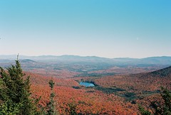 Spruce Mountain (Nsharp17) Tags: nikon nikonfe film 35mm kodak ektar ektar100 mountain sprucemountain vermont foliage trees red orange fall autumn lake