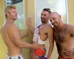 IMG_0228 (danimaniacs) Tags: party shirtless man guy hot sexy hunk bathingsuit trunks speedo bulge smile beard scruff bald hairy