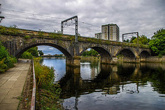 Ayr Railway Arch Bridge (Brian Travelling) Tags: bridge railway arch archbridge reflection reflections reflecting reflect water riverayr westofscotland ayrshire southayrshire scotland scenery scenic scottish scots town path footpath aquaduct