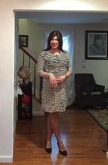 black and white dress (JenniferB!) Tags: crossdress crossdresser crossdressed crossdressing transgender tgurl tgirl makeup pantyhose ladylike enfemme femme heels lipstick girly ootd gurl