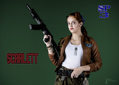 Sucker Punched 3 - Scarlett (FightGuy Photography) Tags: rifle gun suckerpunched3 suckerpunched redhead jacket dogtags belt meaghan cosplay warriorwoman patch badass longhair fightguyphotography ak airsoft leatherjacket patches bandana