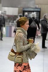 mennonite girl (mouseart005) Tags: mennonite girl culture coffee purse pink paisley dress farmers market pinkdress greysweater headcovering blondehair