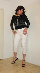 white trousers front view (Barb78ara) Tags: trousers tighttrousers pants tightpants stilettoheels sandals stilettohighheels blacktop