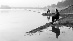 Fishing for fish. (Originalni Digitalni) Tags: 60d canon dslr katarinskisajam lightroom olimpivada originalnidigitalni raw slavonskibrod tomislavlaäiä art fotografija photography umjetnost streetphotography uličnafotografija blackandwhite monochrome fish fishing sitting reflection river sava autumn fog rod