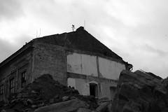 Sony A230 + MIR-1V - Demolition of Vlněna 24 (Kojotisko) Tags: sonyalphaa230 mir1v37mmf28 mir1v mir1b legacylenses legacylens bw brno demolition industrial ruins czechrepublic czechia creativecommons