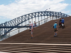Steps of Sydney Opera House and Sydney Bridge (RV Bob) Tags: sydneyharbor sydneyharbour gx85 operahouse panasonic steps bridge sydneybridge abstract