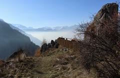 Isérables (bulbocode909) Tags: valais suisse isérables nature montagnes automne brume stratus arbres barrières sentiers bleu orange rochers