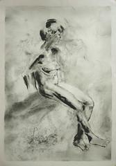 Sitzende abgewandt, Beine gestreckt (Alemwa) Tags: alemwa berlin kreuzberg skezching zeichnung zeichnen sketch nude akt aktzeichnung frau woman lifedrawing zeichnennachmodell