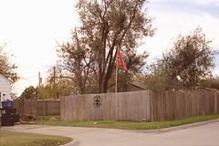 Welcome, Rednecks! (DannyOKC) Tags: slr 45mm film rebel flag redneck racist welcome sign fleurdelis c41 homeprocessed enid oklahoma confederate