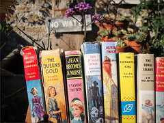 Books but no water. (real ramona) Tags: flower illustration garden fifties somerset books writers novel dickens yardsale mells novels oldbooks kipling x10