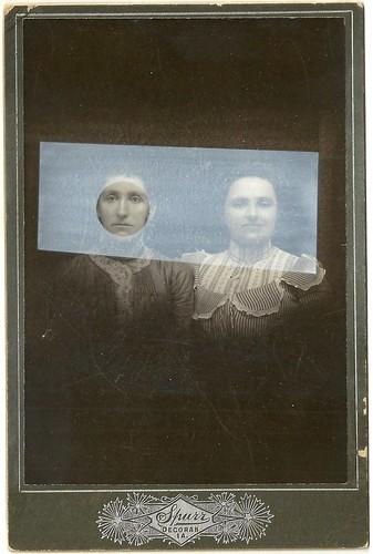 Tom Butler 'Spurr Sisters', 2014 Gouache on Albumen print 16.5x10.5cm