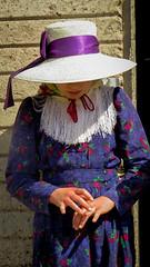 Counting (Fran Caparros) Tags: old portrait argentina argentine girl hat america la chica dress purple retrato south religion young shy days niña sombrero tradition counting pampa vestido joven mennonite timida tradiciones purpura menonita
