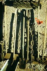 2-28-1959- Calico Ghost Town (foundslides) Tags: desert found slides foundslides kodachrome kodak photo photographer camera ghosttown barstow i15 mojave rudd irmalouisecarter irmalouiserudd farmimplements tools shovels rakes shovel oldphotos vintage johnrudd analog slidecollection irmarudd
