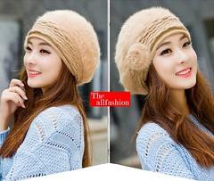็HW-0007-หมวกแฟชั่นกันหนาวทรงไบเล่ทำจากผ้าขนวูลถักลายไหมพรมคาดศีรษะด้านข้างประดับดอกไม้สวยงาม