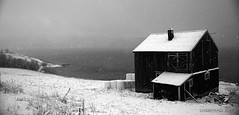 winter by the fjord (lunaryuna) Tags: winter mountains norway barn season solitude silence fjord snowfall lunaryuna stillness northernnorway tromsfylke arcticregion arctictwilight traktoreggs seasonalwonders winterabovethearcticcircle