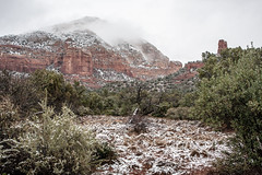 Sedona with a Dusting of Snow and Mist (Styggiti) Tags: travel winter arizona usa snow desert hiking sedona 2015