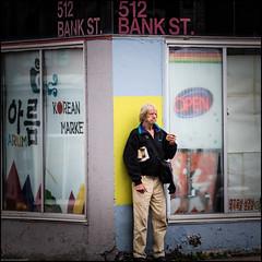 George enjoys a cigarette at Bank and Arlington (Dan Dewan) Tags: bankstreet portrait male ottawa sunday canon7dmarkii canonef70200mm14lisusm  october photographist ontario man canon fall 2016 colour george cigarette smoke street