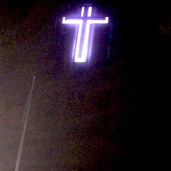 29.09.16 (Dark Archive) Tags: project365 cross crucifix neon denmarkhill williamboothcollege southlondon se5 night sallyarmy