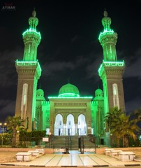 "El Salam Mosque ""Night""l    (Ayman Abu Elhussin) Tags: street cityscape night shot tourism town huge mosque masjed lights wonderful flickr favorit egypt arab misr islam prayer alla god big ayman aymanabuelhussin photography photo portsaid portfouad art architecture wallpaper                               madeinegypt   2016  green atefelsadatst"