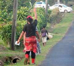 Hailing a Cab (mikecogh) Tags: apia samoa cab taxi hailing woman pedestrians ponytail