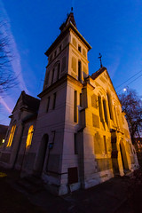 Reformed church (Raoul Pop) Tags: historic architecture corner dusk fall church tower sighisoara transilvania romania ro