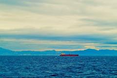 a z u l y r o j o (mmmmarta93) Tags: blue red ship sea viaje travelling estrechodegibraltar horizontalidad paint texture
