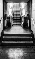 Fahrtreppe S Potsdamer Platz (M. Schirmer Berlin) Tags: treppe bahnhof rolltreppe absurd behindertengerecht behindertenfreundlich schwarzweis monochrome