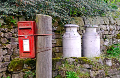 ER Postbox & Churns (Gerry Hat Trick) Tags: yorkshire dales national park winterburn airton calton malhamdale kirby malham walking walk hiking hike laithes barn field landscape autumn fence post box letters village milk churns ramble rambling