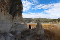 Through the boulders in dry shallow lake (daveynin) Tags: drought dry lake boulders marlena level line california