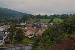 View from Rožmberk Castle 01 (smilla4) Tags: houses town sky clouds czechrepublic rozmberknadvltavou