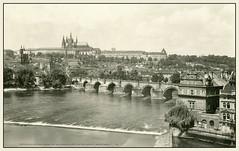 5228 R Prag Praha Karlv most a Hradany  Prag Charles Bridge and Hradany Castle       27. V. 1948. a (Morton1905) Tags: 5228 r prag praha karlv most hradany charles bridge castle       27 v 1948