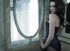 Anne Hathaway 07 (forluvofsex) Tags: annehathaway photoshoot lingerie pantyhose bra indoor sexy highheels bw markseliger 2010 armpit underarm