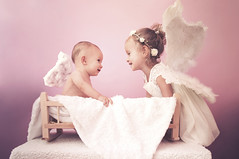 Hello Angel! (Mer's Creations) Tags: cute adorable amazing stunning kids children siblings childhood fun angel hello sister brother shot perfect light nice pink white portrait soft gentle lovely charming