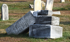 The Fall of Augustus (MTSOfan) Tags: gravemarker rubble damage fallen augustus headstone cemetery mountjoy granite permanence illusion stewardship