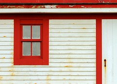Lighthouse Window (Karen_Chappell) Tags: window lighthouse red white ferryland architecture wood wooden paint painted newfoundland nfld door trim canada avalonpeninsula irishloop