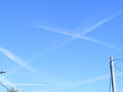 Vapour Trails - Summer in Petrinja Croatia: 2016 (seanfderry-studenna) Tags: summer petrinja croatia hrvatska 2016 august september outdoor outside balkans balkan europe eu european blue sky white clouds vapour trails nature natural man made hot warm