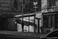 Stokes Croft Scenes (zolaczakl ( 2.5 million views, thanks everyone)) Tags: bristol 2016 photographybyjeremyfennell nikond7100 nikonafsnikkor24120mmf4gedvrlens uk england southwest bristolinmonochrome mono monochrome blackandwhitebristol blackandwhite stokescroft stokescroftscenes graffiti lightshadow figure people streetart