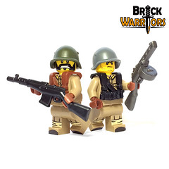 Soviet Infantry Closeup (BrickWarriors - Ryan) Tags: brickwarriors custom lego minifigure weapons helmets armor soviet union ussr russia rifle smg suspenders infantry ww2 world war